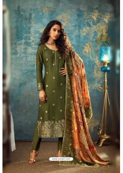 Mehendi Designer Jacquard Party Wear Straight Suit