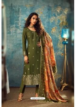 Mehendi Designer Jacquard Party Wear Straight Suit