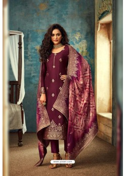 Deep Wine Designer Jacquard Party Wear Straight Suit