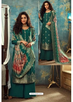 Teal Designer Jacquard Party Wear Palazzo Suit