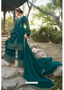 Teal Chinon Latest Party Wear Palazzo Suit