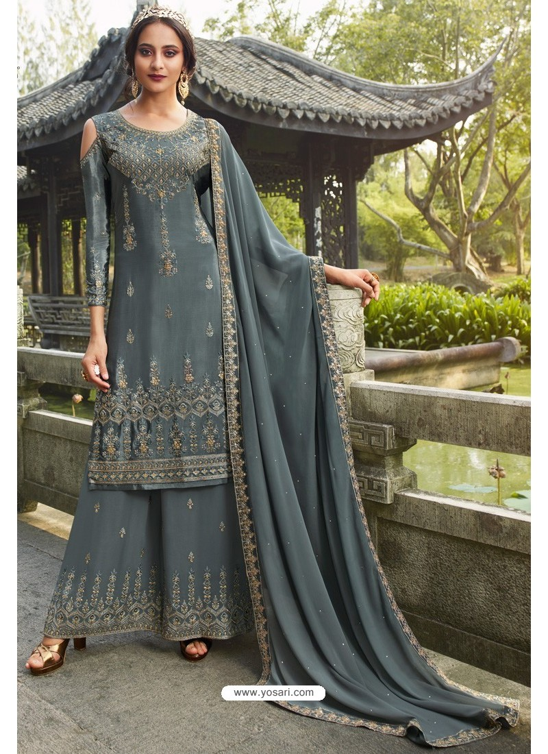 Grey Chinon Latest Party Wear Palazzo Suit