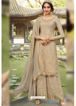 Beige Chinon Latest Party Wear Palazzo Suit