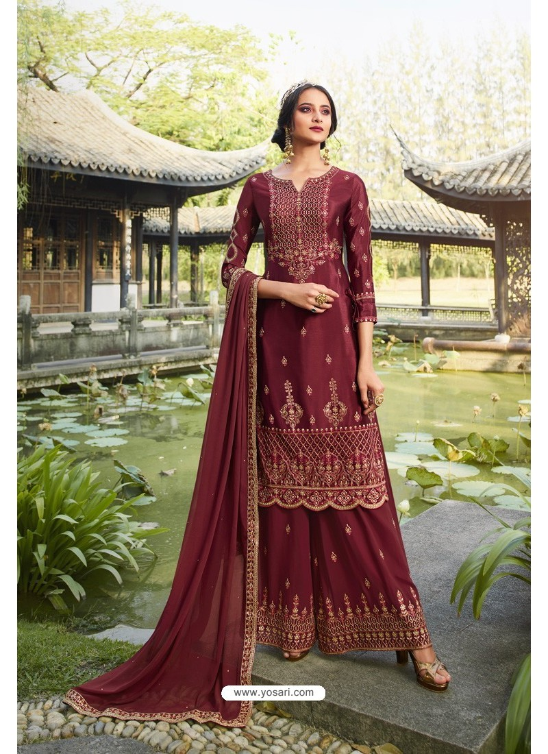 Maroon Chinon Latest Party Wear Palazzo Suit