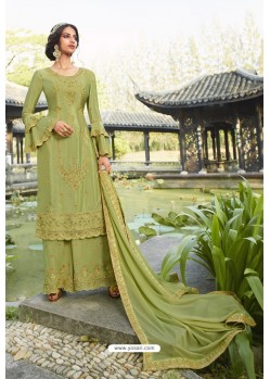 Green Chinon Latest Party Wear Palazzo Suit