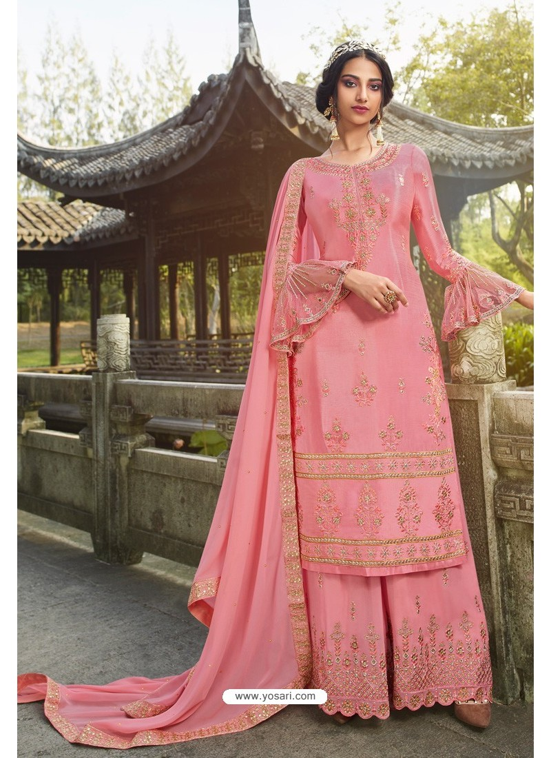 Pink Chinon Latest Party Wear Palazzo Suit
