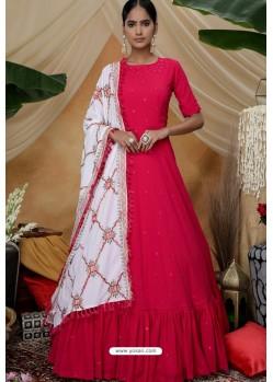 Rani Pink Diamond Georgette Party Wear Long Anarkali Gown
