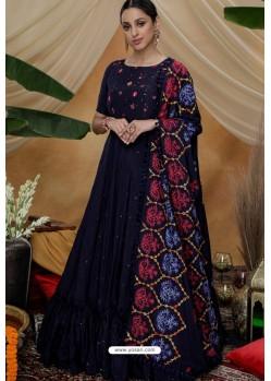 Navy Blue Silk Party Wear Long Anarkali Gown