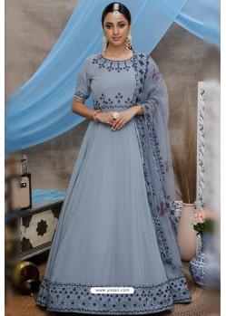 Grey Diamond Georgette Party Wear Long Anarkali Gown
