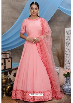 Pink Silk Party Wear Long Anarkali Gown
