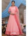 Pink Silk Party Wear Long Anarkali Gown