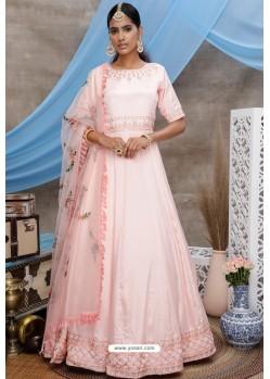 Peach Diamond Georgette Party Wear Long Anarkali Gown