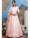 Peach Diamond Georgette Party Wear Long Anarkali Gown