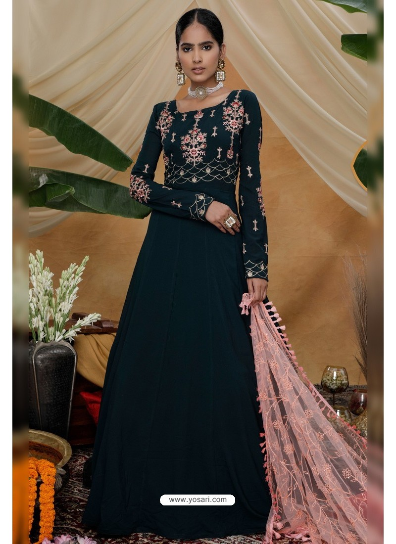 Dark Green Diamond Georgette Party Wear Long Anarkali Gown