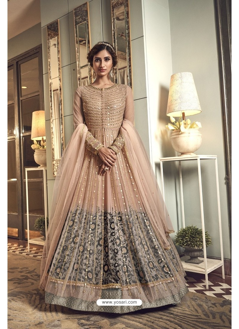 Peach Premium Net Heavy Designer Indo Western Suit
