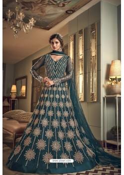 Teal Blue Butterfly Net Heavy Designer Indo Western Suit