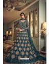 Teal Blue Butterfly Net Heavy Designer Indo Western Suit
