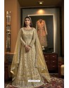 Light Yellow Butterfly Net Heavy Designer Indo Western Suit