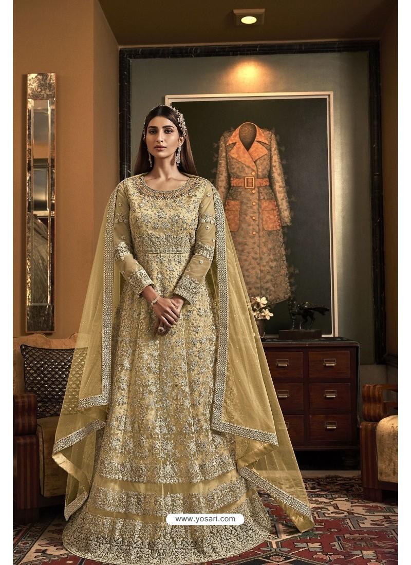 Light Yellow Butterfly Net Heavy Designer Indo Western Suit