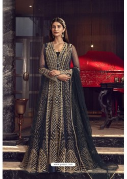 Navy Blue Butterfly Net Heavy Designer Indo Western Suit