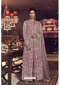 Old Rose Butterfly Net Heavy Designer Indo Western Suit