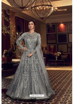Grey Butterfly Net Heavy Designer Indo Western Suit