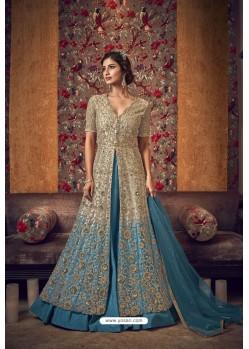 Golden Premium Net Heavy Designer Indo Western Suit