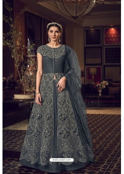 Dark Grey Butterfly Net Heavy Designer Indo Western Suit