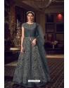 Dark Grey Butterfly Net Heavy Designer Indo Western Suit