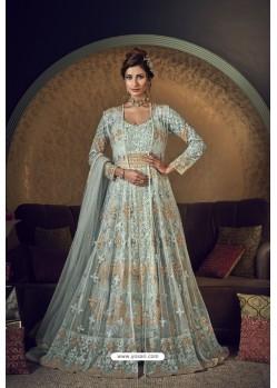 Aqua Blue Butterfly Net Heavy Designer Indo Western Suit
