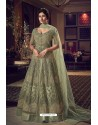 Olive Green Butterfly Net Heavy Designer Indo Western Suit