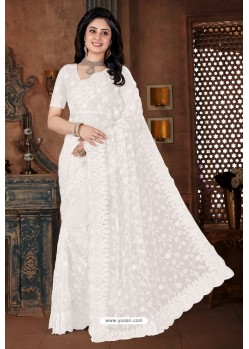 White Net Heavy Worked Designer Saree