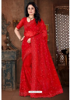Red Net Heavy Worked Designer Saree