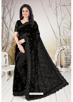 Black Net Heavy Worked Designer Saree