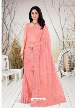 Light Orange Net Heavy Worked Designer Saree