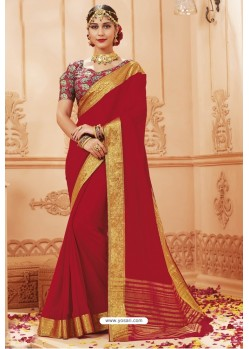 Red Latest Designer Satin Silk Saree