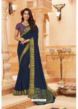 Navy Blue Latest Designer Satin Silk Saree