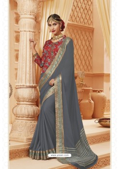 Grey Latest Designer Satin Silk Saree