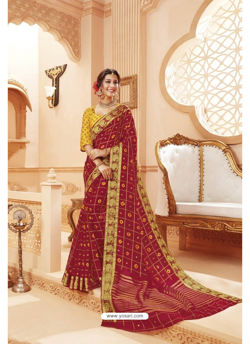 Maroon Latest Designer Satin Silk Saree