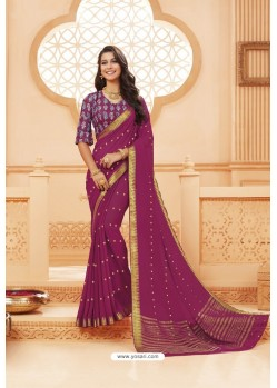 Deep Wine Latest Designer Satin Silk Saree