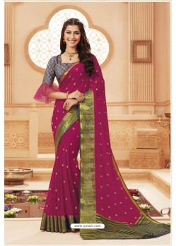 Medium Violet Latest Designer Satin Silk Saree
