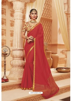 Dark Peach Latest Designer Satin Silk Saree