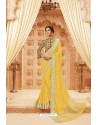 Yellow Latest Designer Satin Silk Saree
