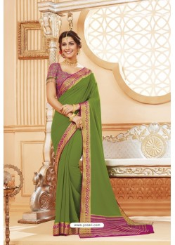 Green Latest Designer Satin Silk Saree