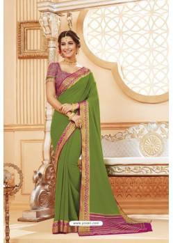 Green Latest Designer Satin Silk Saree