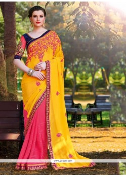 Superb Georgette Hot Pink And Yellow Lace Work Half N Half Saree