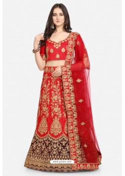 Red Malay Satin Party Wear Lehenga Choli