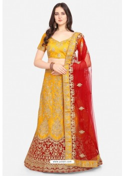 Mustard Malay Satin Party Wear Lehenga Choli