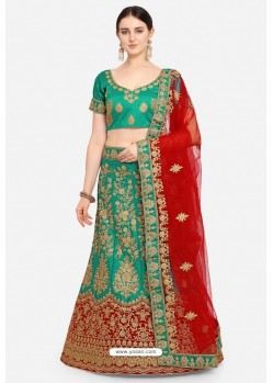 Forest Green Malay Satin Party Wear Lehenga Choli