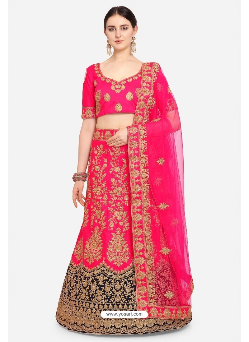 Rani Pink Malay Satin Party Wear Lehenga Choli